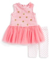 Little Me Infant Girl's Ruffle Dress & Capri Leggings Set