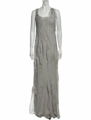Alberta Ferretti Silk Long Dress w/ Tags Grey