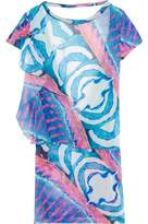 Just Cavalli Cutout Cotton-Paneled Printed Voile Coverup