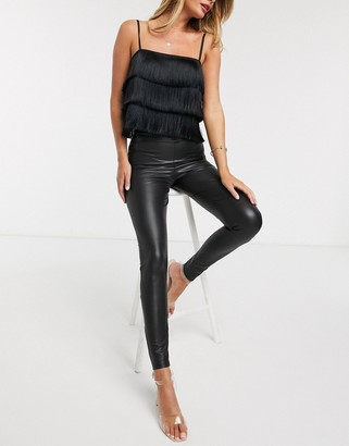 Miss Selfridge faux leather legging in black
