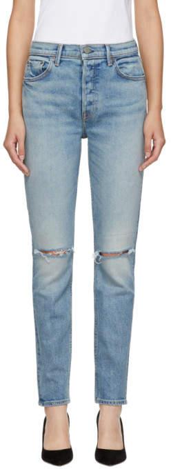 GRLFRND Blue Knee Rip Karolina Jeans