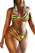 Viottis Women's African Trible Triangle Bikini Set Cut-out Swimsuit XL