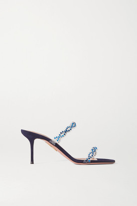 Aquazzura Heaven 75 Crystal-embellished Pvc And Suede Mules - Navy
