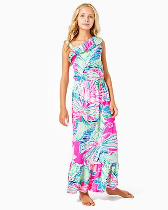 Lilly Pulitzer Girls Octavia One-Shoulder Maxi Dress