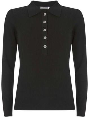 Mint Velvet Black Puff Sleeve Polo Shirt