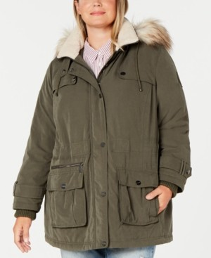 DKNY Plus Size Water Resistant Hooded Anorak Coat with Faux-Fur Trim, Created for Macy's