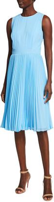 Badgley Mischka Reo Sleeveless Pleated Dress