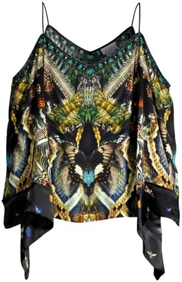 Camilla Butterfly-Print Cold-Shoulder Flare Silk Top