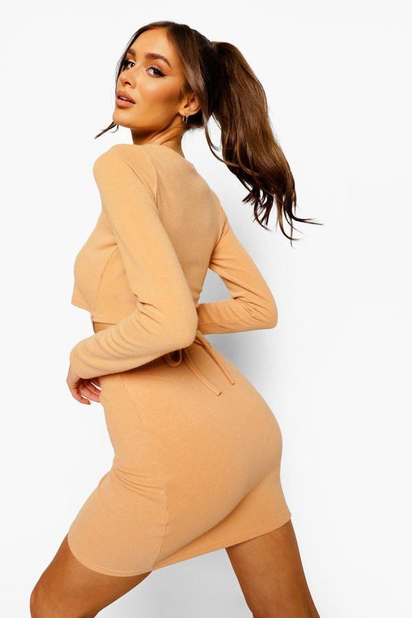 Thumbnail for your product : boohoo Crinkle Rib Tie Detail Top & Mini Skirt