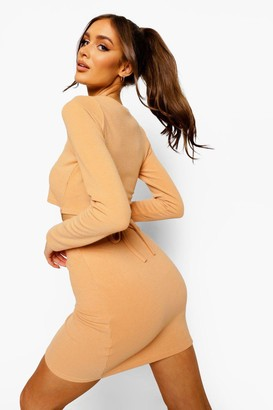boohoo Crinkle Rib Tie Detail Top & Mini Skirt