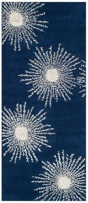 "Safavieh SoHo Collection SOH712 Rug, Dark Blue/Ivory, 2'6"" X 10'"