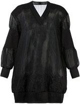 Sacai semi-sheer sweatshirt style dress