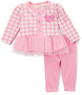 Buster Brown Begonia Pink Tulle-Trim Ruffle Tee & Leggings - Infant