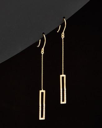 Italian Gold 14K Cz Open Bar Dangle Earrings