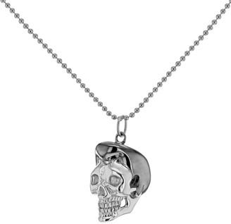 True Rocks Large Elvis Skull Pendant In Sterling Silver & Gun Metal Grey Silver