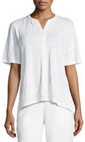 Eileen Fisher Short-Sleeve Button-Front Linen Jersey Top