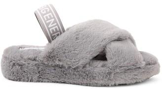 BCBGeneration Soffi Faux Fur-Trim Slingback Sandals