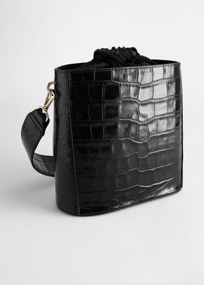 And other stories Croc Embossed Leather Bucket Bag