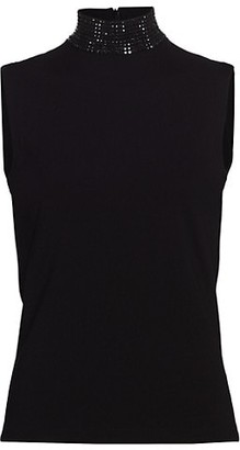 Akris Punto Sleeveless Embellished Mockneck Top