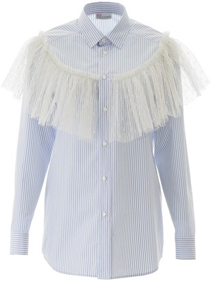 RED Valentino Striped Shirt With Plumetis Ruffle