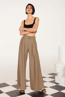 Nasty Gal Womens Business As Usual Wide-Leg Belted Pants - Tan