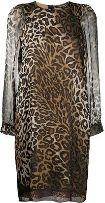 Luisa Cerano Leopard Print Sheer Dress