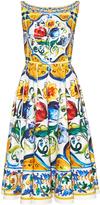 Dolce & Gabbana Majolica-print scoop-back stretch-cotton dress