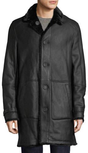 Yves Salomon Men's Lamb Leather Shearling Fur-Lined Coat