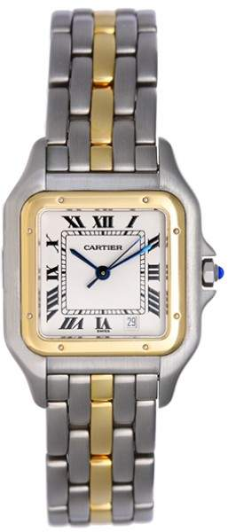 Cartier Panthere WCAGO132 Stainless Steel and 18K Yellow Gold White Dial 37mm Mens Watch