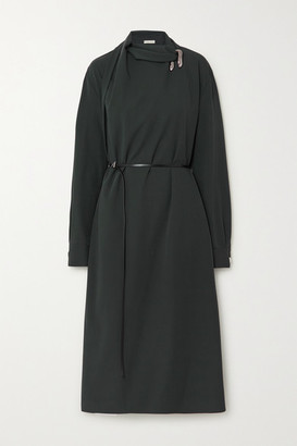 Bottega Veneta Belted Embellished Wool Wrap Dress - Green