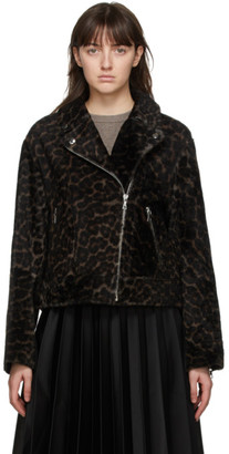 Yves Salomon Black and Beige Lacon Lamb Leopard Jacket