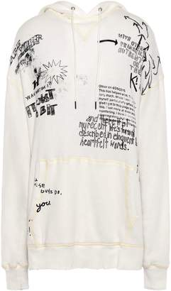 R 13 Distressed Printed French Cotton-terry Hoodie