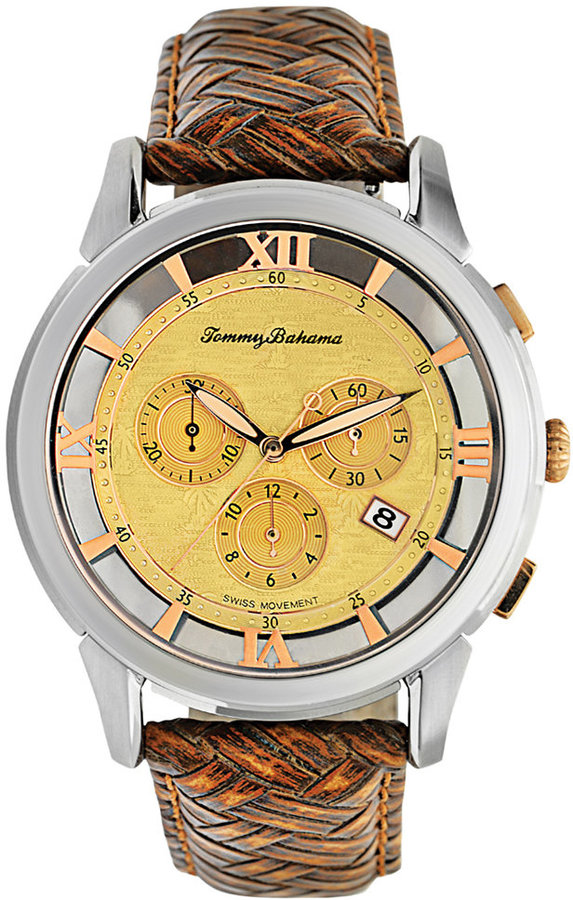 Tommy Bahama Watch, Men's Swiss Chronograph Honey Brown Woven Leather Strap 42mm TB1227
