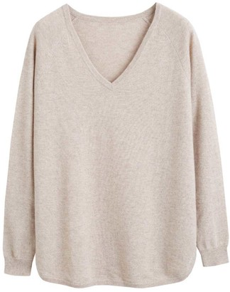 Chinti and Parker Oatmeal Cashmere V-neck Sweater