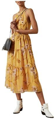 Ted Baker Saffine Cabana Printed Tiered Midi Dress (Yellow) Women's Dress