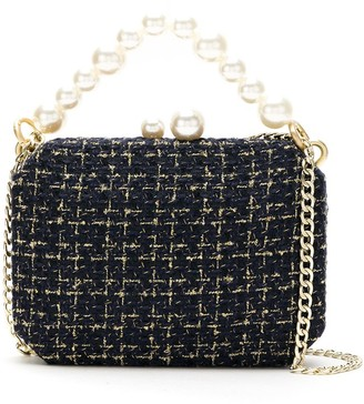 Isla Tweed Clutch Bag With Pearl Detail