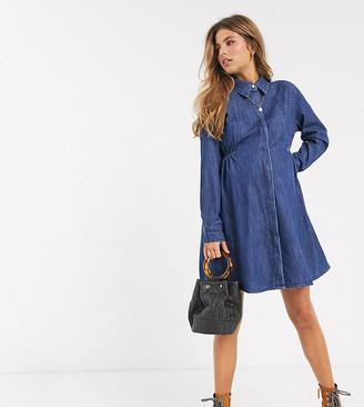Asos DESIGN Maternity exclusive denim shirt dress with ruching detail in midwash blue