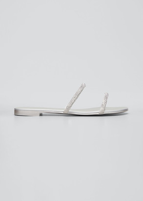 Giuseppe Zanotti Flat Crystal Suede 2-Band Sandals