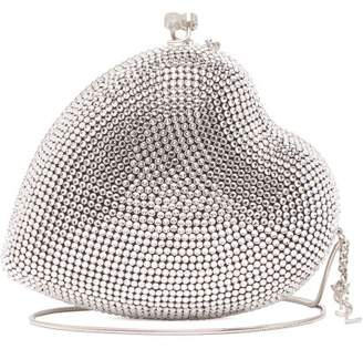 Saint Laurent Love Box Heart Shaped Crystal Embellished Clutch - Womens - Silver