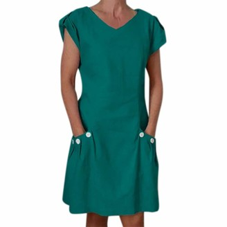 kolila Women Sale Summer T-Shirt Blouse Linen Dresses Bohos Loose Casual V-Neck Kaftan Feminino Vestid Short-Sleeved Dress Women's Beach Cotton Button Pocket Dress(Green XXL)