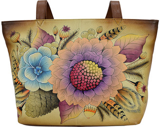 Anna by Anuschka Women's Totebags Rustic - Yellow & Green Rustic Bouquet Hand-Painted Leather Tote