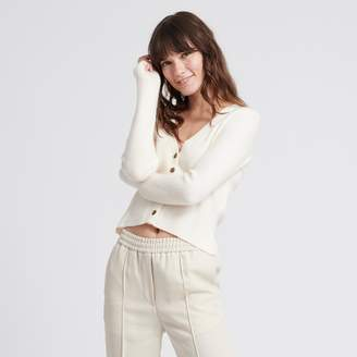 Naadam Cashmere Ribbed Cropped Cardigan White