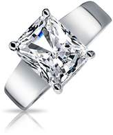 Bling Jewelry Silver Plated 3 ct Radiant Cut Solitaire CZ Engagement Ring with Engraving