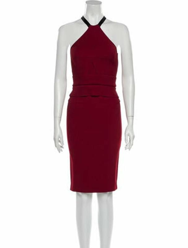 Roland Mouret Halterneck Knee-Length Dress Red