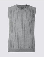 M&S Collection Pure Cotton Textured Slipover Jumper