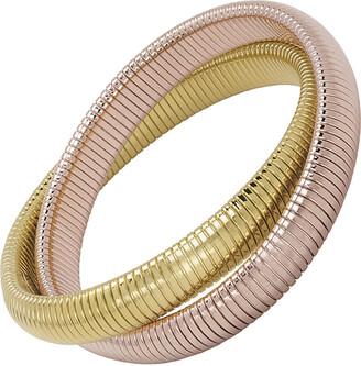 Janis Savitt High Polished Yellow and Rose Gold Plated Double Cobra Bracelet