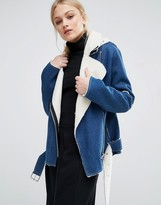 J.o.a. Biker Jacket In Denim With Faux Shearling Lining