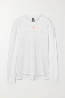adidas by Stella McCartney Printed Organic Cotton-jersey And Mesh Top - White