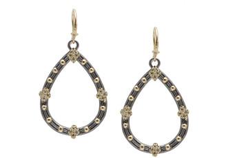 Armenta Old World Champagne Diamond Open Pear Earrings, 30mm