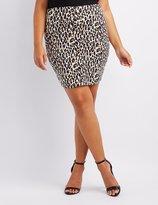 Charlotte Russe Plus Size Leopard Bodycon Mini Skirt